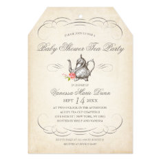 Classy Vintage Tea Party | Baby Shower Card at Zazzle