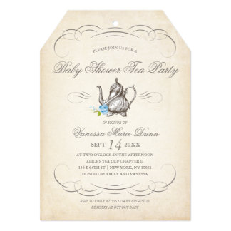 Classy Vintage Tea Party Blue | Baby Shower Card