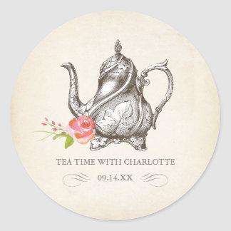 "Classy Vintage Tea Party Sticker ""Tea Time"""