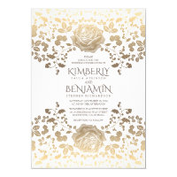 Classy Vintage White and Gold Floral Wedding Card