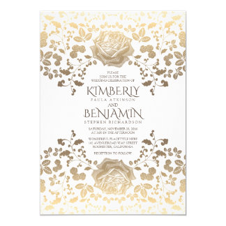 Classy Vintage White and Gold Floral Wedding Invitation