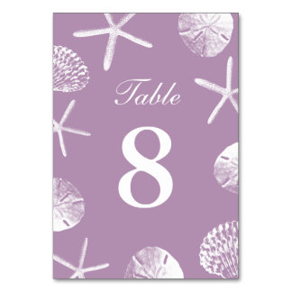 Classy Violet Beach Theme Seashells Table Numbers Card