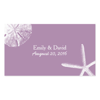 Classy Violet Beach Theme Wedding Website Insert Business Card
