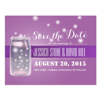 Classy Violet Mason Jar & Fireflies Save the Date Postcard