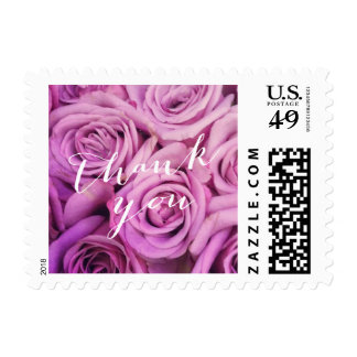 Classy Violet Rose Floral Thank You Stamps