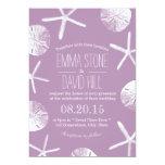 Classy Violet Starfish & Sand Dollar Beach Wedding 5x7 Paper Invitation Card