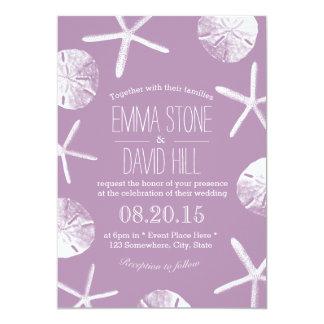 Classy Violet Starfish & Sand Dollar Beach Wedding Card