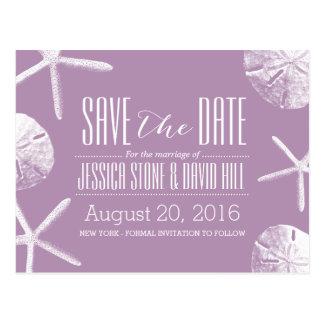Classy Violet Starfish & Sand Dollar Save the Date Postcard