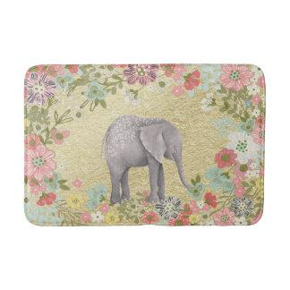 Classy Watercolor Elephant Floral Frame Gold Foil Bathroom Mat