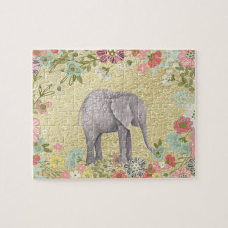 Classy Watercolor Elephant Floral Frame Gold Foil Jigsaw Puzzle