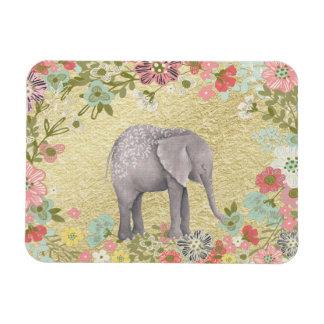 Classy Watercolor Elephant Floral Frame Gold Foil Magnet