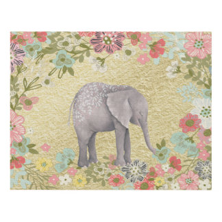 Classy Watercolor Elephant Floral Frame Gold Foil Panel Wall Art