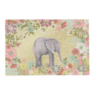 Classy Watercolor Elephant Floral Frame Gold Foil Placemat
