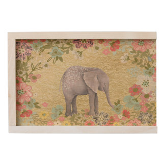 Classy Watercolor Elephant Floral Frame Gold Foil Wooden Keepsake Box