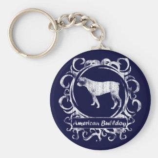 Classy Weathered American Bulldog Keychains