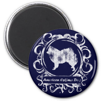 Classy Weathered American Eskimo Dog 2 Inch Round Magnet
