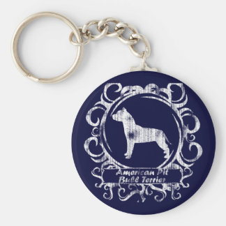 Classy Weathered American Pit Bull Terrier Basic Round Button Keychain