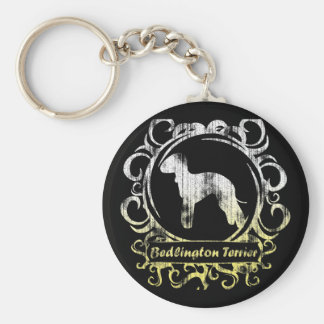Classy Weathered Bedlington Terrier Basic Round Button Keychain