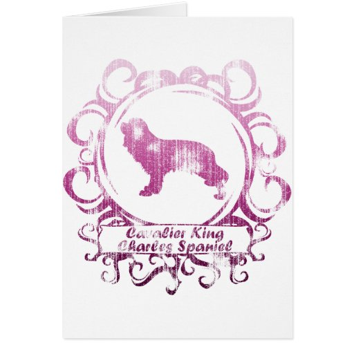 Classy Weathered Cavalier King Charles Spaniel Greeting Card