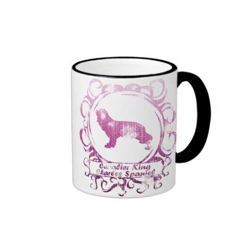 Classy Weathered Cavalier King Charles Spaniel Ringer Mug