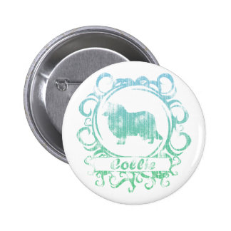 Classy Weathered Collie 2 Inch Round Button