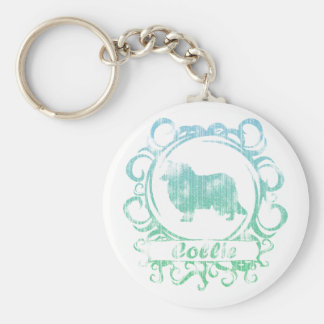 Classy Weathered Collie Basic Round Button Keychain