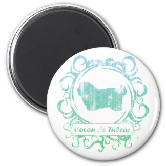 Classy Weathered Coton de Tulear 2 Inch Round Magnet