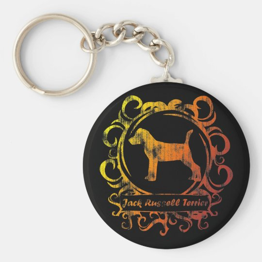 Classy Weathered Jack Russell Terrier Keychain