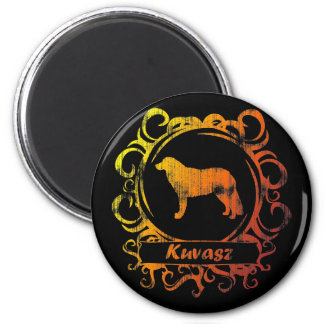 Classy Weathered Kuvasz 2 Inch Round Magnet