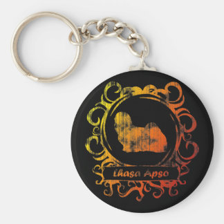 Classy Weathered Lhasa Apso Keychain