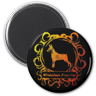 Classy Weathered Min Pin 2 Inch Round Magnet