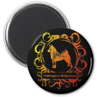 Classy Weathered Norwegian Elkhound 2 Inch Round Magnet