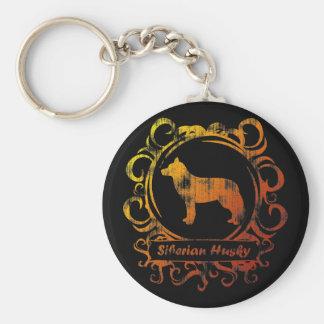 Classy Weathered Siberian Husky Key Chain