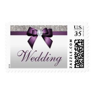 Classy Wedding Faux Silver Sequins Purple Bow Postage