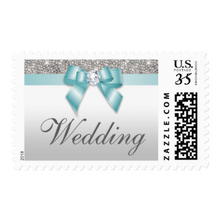 Classy Wedding Faux Silver Sequins Teal Bow Postage