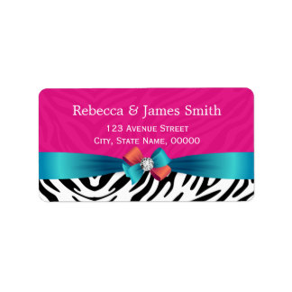 Classy Wedding Hot Pink Zebra Print Label