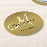 "Classy Wedding Monogram Glitter Gold Round Paper Coaster<br><div class=""desc"">A stylish and classy glitter gold paper coaster to use at your wedding parties.Personalize with your monogram, bride and groom names and wedding date to make the golden paper coasters unique and one of a kind.Use the &#39;CUSTOMIZE IT&#39;option to add the wedding date and also edit the text color, size...</div>"