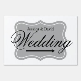Classy wedding yard sign for directing guests