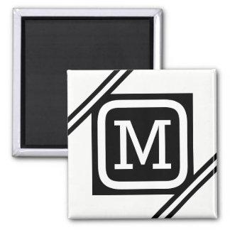 Classy White & Black Basic Square Lined Monogram Magnet