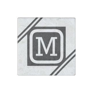 Classy White & Black Basic Square Lined Monogram Stone Magnet