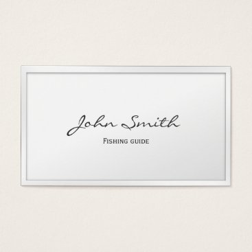 Professional Business Classy White Border Fishing Guide Business Card