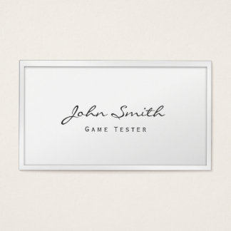 Classy White Border Game Testing Business Card