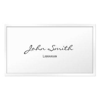 Classy White Border Librarian Business Card