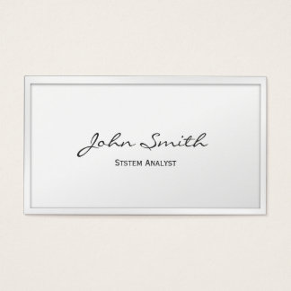 Classy White Border System Analyst Business Card