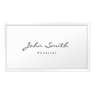 Classy White Border Vocalist Business Card