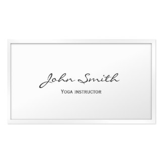 Classy White Border Yoga instructor Business Card