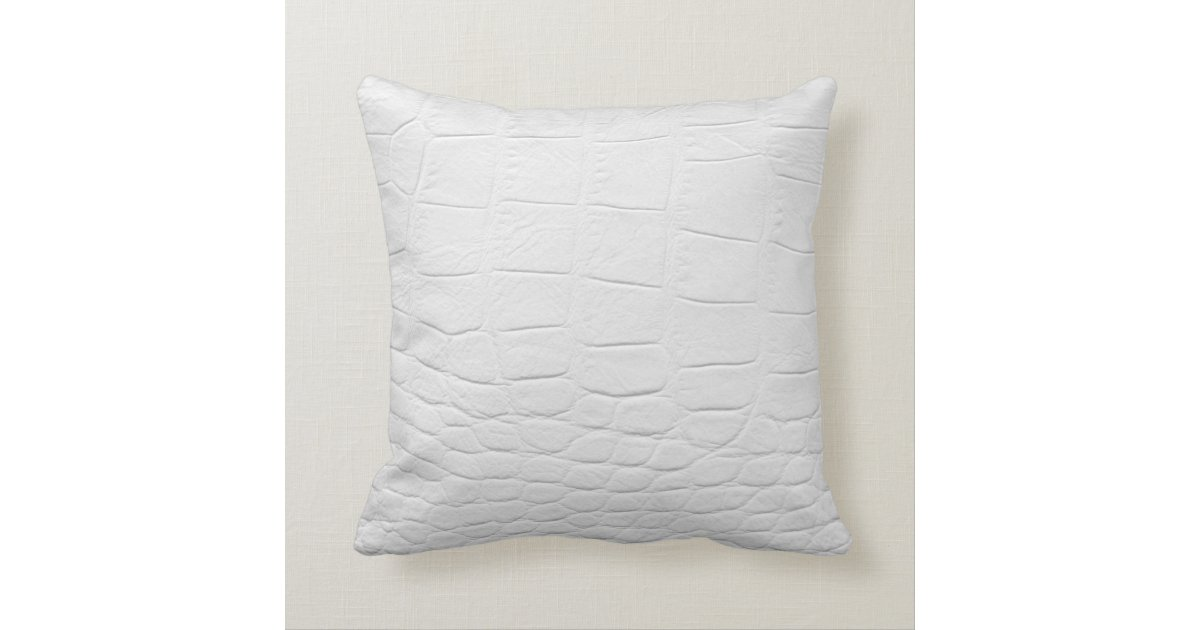 White Leather Throw Pillow : classy white crocodile leather throw pillow Zazzle.com