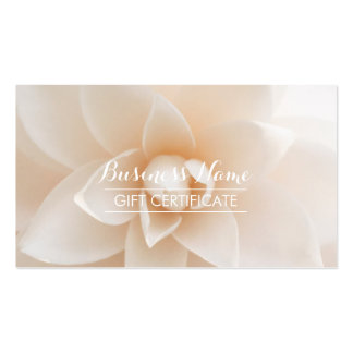 Classy White Floral Gift Certificate Double-Sided Standard Business Cards (Pack Of 100)