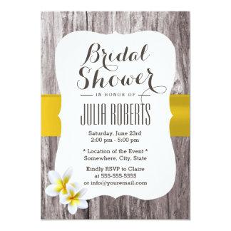 Classy White Frangipani Theme Beach Bridal Shower Card