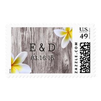 Classy White Frangipani & Wood Wedding Stamps